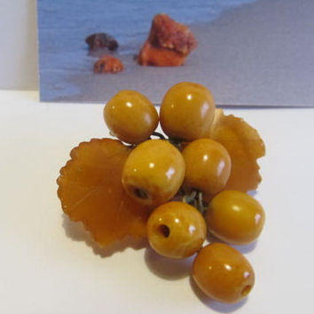 100% Natural #Antique #Vintage #Baltic #Amber #Brooch #Grapes, 9.5 grams #yellow  polished  opaque  for adult