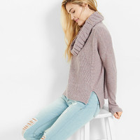 mixed knit cowl neck boxy sweater