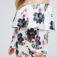 Missguided Floral Bardot Romper at asos.com