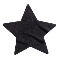 H&M - Star-shaped Terry Rug - Black