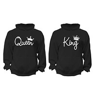 XtraFly Apparel Queen King Reina Rey Valentine's Matching Couples Hooded-Sweatshirt Pullover Hoodie