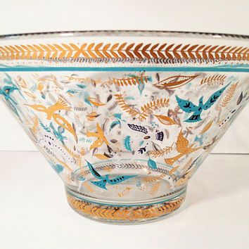 "Mid Century Georges Briard ""Paradise"" Chip Bowl, Doves of Turquoise - Gold - White, Feathers and Leaves on clear Glass"