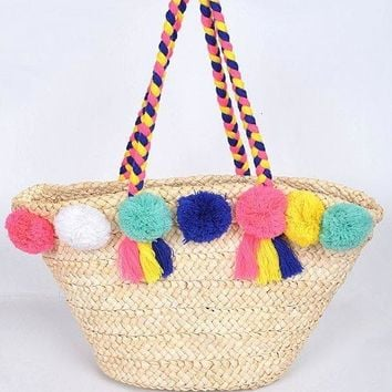 Straw Beach Bag With Puff Balls