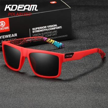 2019 New KDEAM Sports Sunglasses Men HD Polarized Sun Glasses Red Square Frame Reflective Coating Mirror lens UV400 KD05X-C5