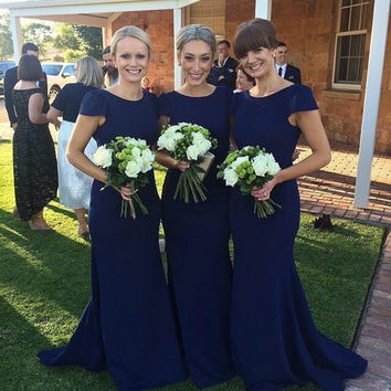 Navy Blue Bridesmaid Dresses Mermaid Short Sleeve Scoop Long Spandex Party Gowns With Court Train Cap Sleeve Vestido De Madrinha