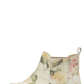 Coolway Felicia Natural Suede Leather Floral Print Ankle Boots