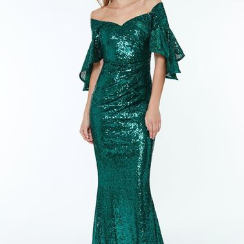 Green Off The Shoulder Sequined Maxi Party Dress