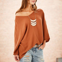 Plus Size Batwing Sleeve Irregular T-shirts [7767262727]