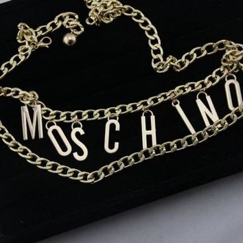 Moschino Stylish Ladies Waist Chain Metal Pendant Waist Chain Double Chain Waist Chain