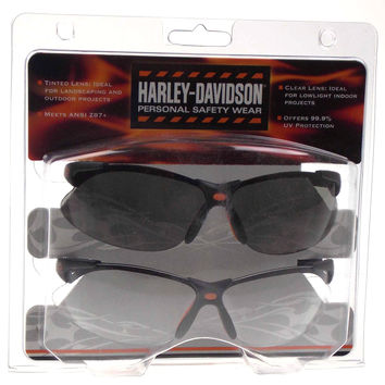 Harley Davidson Personal Safety Wear Glasses Set Tinted Clear ANSI Z87+ 99.9% UV