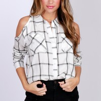 Cold Shoulder Plaid Top White