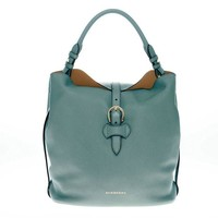 ONETOW Burberry Women's Medium Buckle Detail Grained Hobo Bag Green