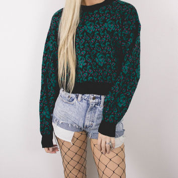 Vintage Paisley Knit Cropped Sweater