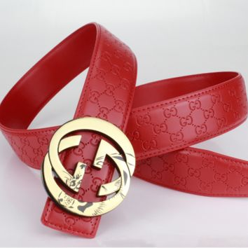 GUCCI Woman Men Fashion Belt Leather Belt Red