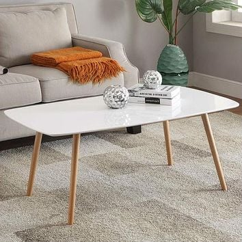 White Top Mid-Century Coffee Table with Solid Wood Legs