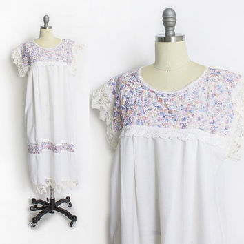 Vintage 1970s Dress - Mexican White Cotton Pastel Embroidered Crotchet Lace - Small / Medium