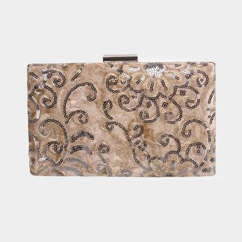 Brown Floral Embroidery Beads Velvet Clasp Crossbody Clutch Bag