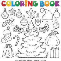 Clipart Vector of Coloring book Christmas decor 1 - eps10 vector illustration csp16323152 - Search Clip Art, Illustration, Drawings and Vector EPS Graphics Images