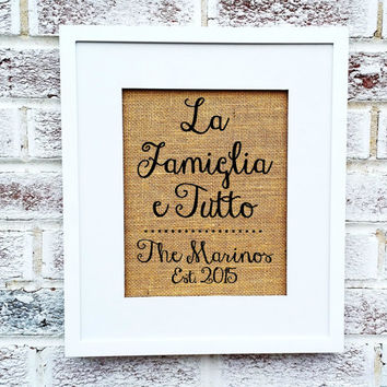 "Italian family, Italian saying ""La Famiglia e Tutto"" The Family is Everything, gift for Italian mother mother in law father, New York Jersey"