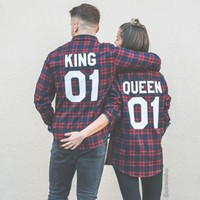 King 01 Queen 01 Red Plaid Shirts, Matching Plaid Shirts, UNISEX