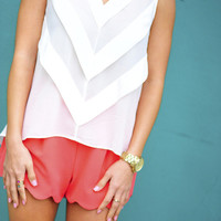 RESTOCK On Point Chevron Blouse: White | Hope's
