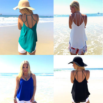 Spaghetti Strap Scoop Backless Pure Color Sexy Blouse