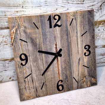 Rustic Barn Wood Clock  Large Rustic Barn Wood Wall Clock