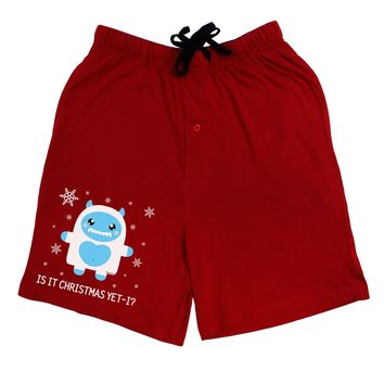 Is It Christmas Yet - Yeti Abominable Snowman Adult Lounge Shorts - Red or Black by TooLoud