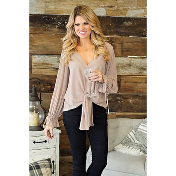* Feeling Fab Tie Blouse: Taupe