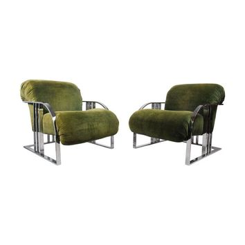 Pre-owned Rare Green Velvet Lounge Chairs by Milo Baughman