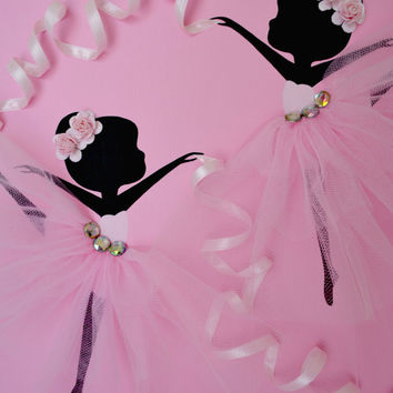 Tutu wall art. Dancing ballerinas nursery wall art. 12x12