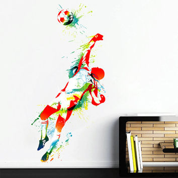 kcik112 Full Color Wall decal soccer football ball sport spray paint room Bedroom sports hall