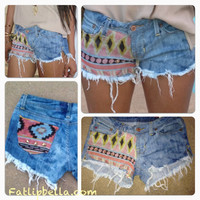 Pre order BOHO Studded Tribal Aztec Print cut off by FatLipBella