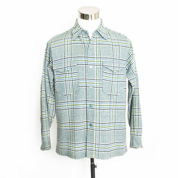 Vintage 1970s PENDLETON Shirt - Wool Plaid Blue Green Button Up - Medium