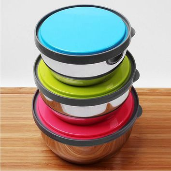 DCCKL72 Stainless Steel Mixing or Food Bowl Set with lids  With Bright Color Silicone lids,   Set of 3 Bowls  Dishwasher Freezer Safe