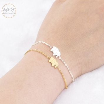 Gold Color Lucky Origami Elephant Bracelets For Women Best Friend Gift Stainless Steel Chain Pulseras Mujer Moda 2018