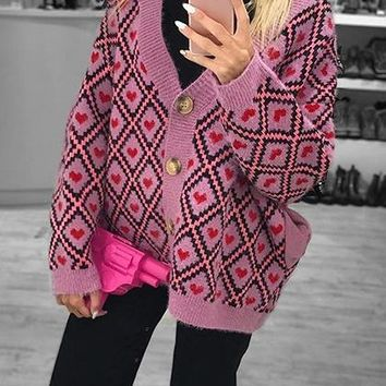 Pink Contrast Plaid Heart Detail Long Sleeve Chic Women Knit Cardigan