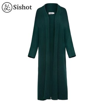 Women Casual Knitwear Autumn Slim Red Knitting Long Sleeve Cashmere Green Lapel Long Open Stitch Casual Cardigan