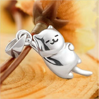 Online Shop New 2015 Japanese Game Neko Atsume Cute Cat Pendant Necklace S925 Silver|Aliexpress Mobile