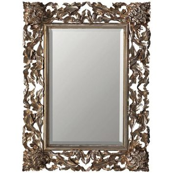 GM Luxury Pierre Rectangular Decorative Wall Art Hand Carved Mirror, Antique Silver Leaf 55x90.6