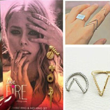 Fashion womens jewelry simple twist v shape metal joint ring silver gold plated finger rings
