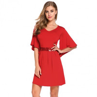 Women V-Neck Bell Sleeve Sequined Waist Casual A-Line Dress