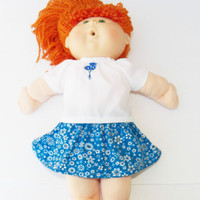 """Cabbage Patch 16"""" KIDS Doll Clothes & Bitty Baby Skirt Embroidered Blue handmade"""