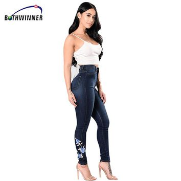 Bothwinner Embroidery Flower Patch Cropped Jeans Women`s Brand New High  Waist Stretch Skinny Pants For Women Denim Jean Capris