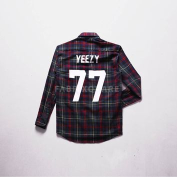 Mens XQUARE Yeezy 77 Flannel Shirt at Fabrixquare Vandalique