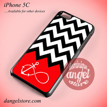 Black White Chevron Red Infinity Anchor Phone case for iPhone 5C and another iPhone devices