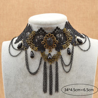 Gothic Steampunk Black Flower Lace Choker Necklace Bijoux Jewelry Fashion Necklace For Women