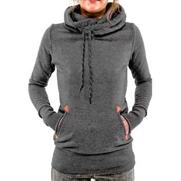 2017 Autumn Winter Scarf Collar Warm Women Coat Hoodie Pullover Casual Pocket Hooded Female Plus Size Sweatshirt Tops Tracksuit