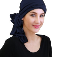 Navy Blue Jersey Turban, Head Wrap, Alopecia Scarf, Chemo Hat and Scarf Set