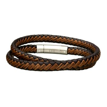 Dark & Light Brown Braided Leather Men's Double Wrap Bracelet 8""